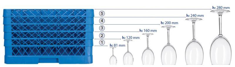 Cos pt. spalat pahare cu 16 compartimente