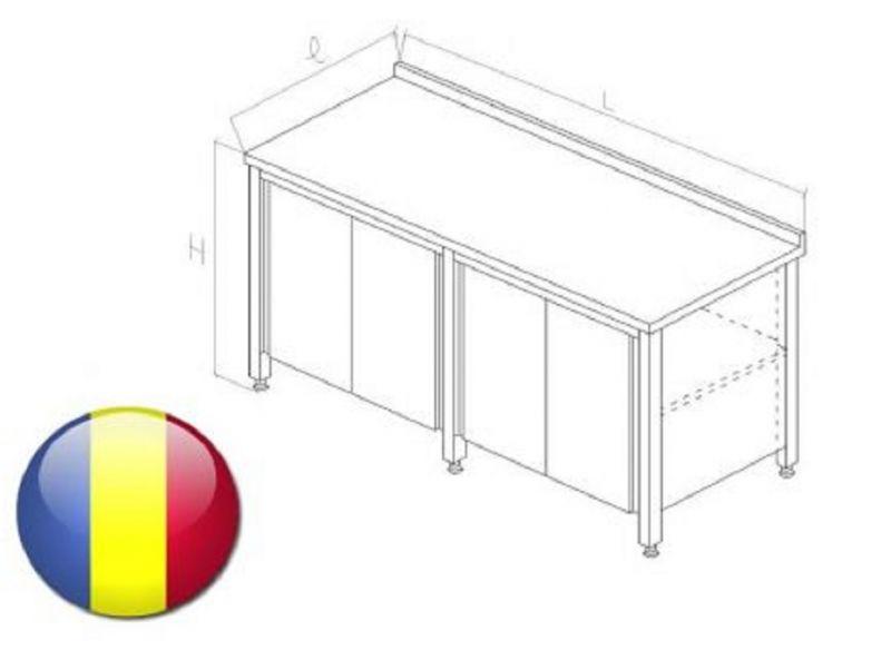 Masa inox cu rebord tip dulap cu usi glisante si polita intermediara2700X700X850 mm