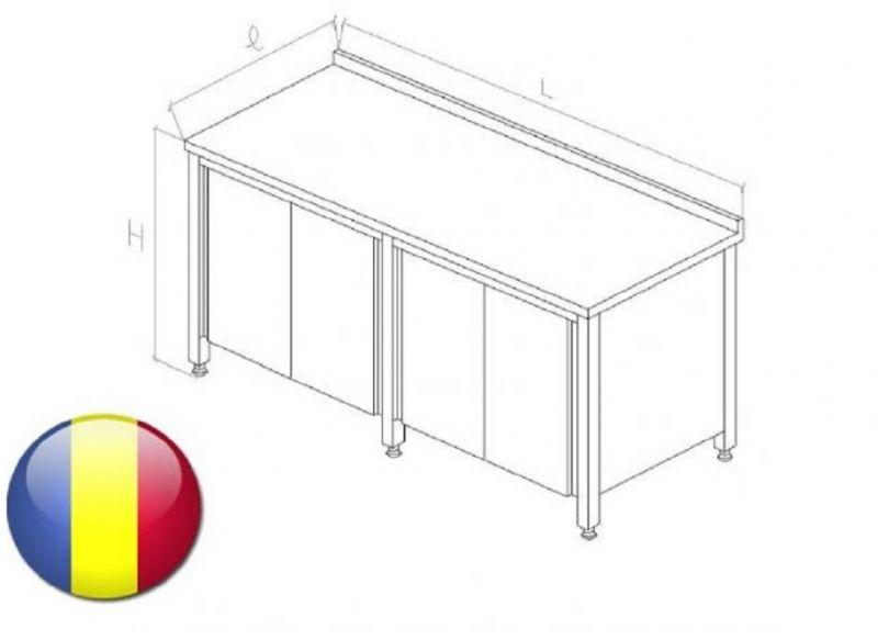 Masa inox cu rebord tip dulap cu usi glisante fara polita intermediara 2400X700X850 mm