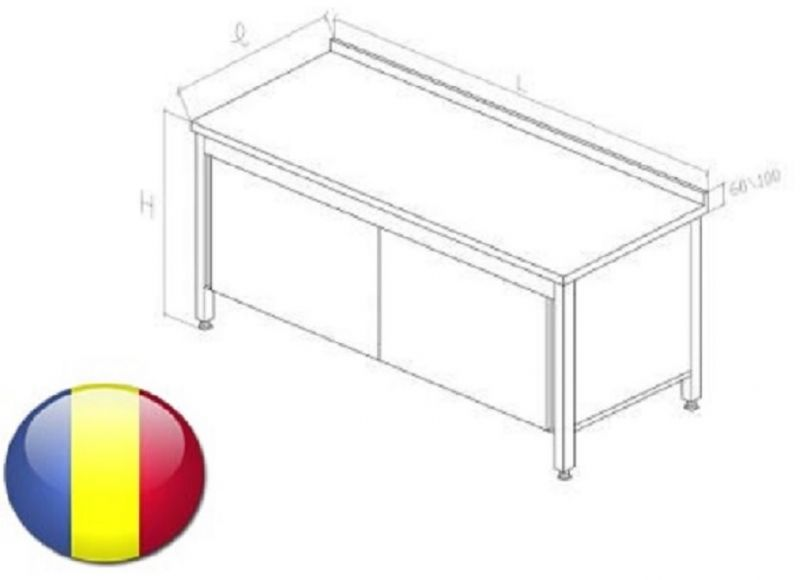 Masa inox cu rebord tip dulap cu usi glisante si polita intermediara 1400X700X850 mm